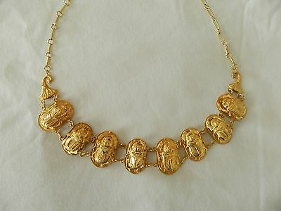 "Egyptian Scarab 18K Yellow Gold Necklace Diamond Cut Hieroglyphic 19"" (By Order)"