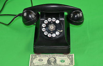 Vtg Bell System Western Electric Phone F1 Black Rotary Prop Art Deco Free Ship