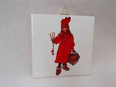 Swedish Ceramic Cork Backed Tile Trivet Hot Pad Carl Larsson Apple Girl