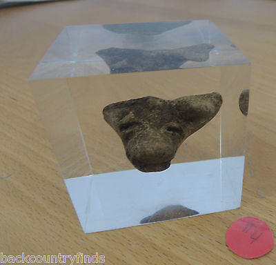 Clay Pottery Face Ancient Artifact Contained in Clear Acrylic Cube Display #4