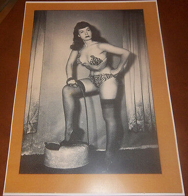 "BETTY PAGE PINUP POSTER REPRINT 11"" X 15"" BETTIE WHIP NYLONS STOCKINGS HEELS"