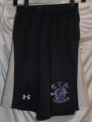 Under Armour CYA Lacrosse Black/White/Purple Shorts Mens Size Small Polyester