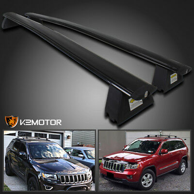 2011-2015 Jeep Grand Cherokee Black Front & Rear Roof Top Rack Cross Bar