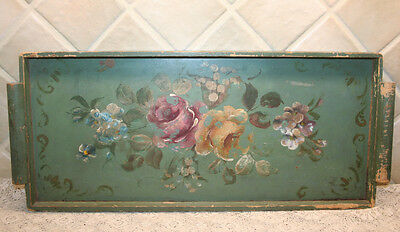 Antique Green Shabby Wooden Tray with Handpainted / Tole Painted Floral Motif