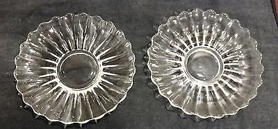 """Two Beautiful Heisey Chrysolite Glass Saucers  6"""" & 6 1/4"""" in Diam"""