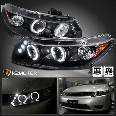 [JDM Black] For 2006-2011 Honda Civic 2Dr LED Halo Projector Headlights Pair