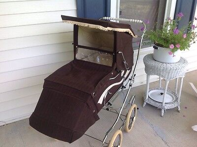 Brown Peg Perego Vintage Stroller Pram Baby Carriage 1960's Or 1970's EUC