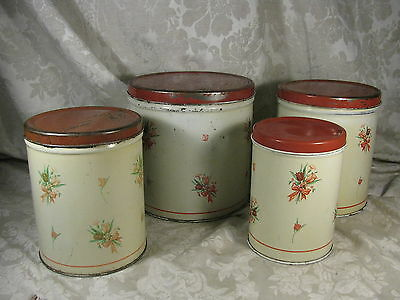 4 Empico Vintage Metal Rose Floral Tin Canisters