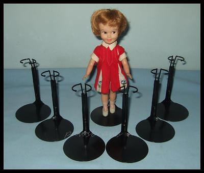 "6 BLACK Kaiser TINY BETSY McCALL Doll Stands for Vintage 9"" SKIPPER Penny Brite"