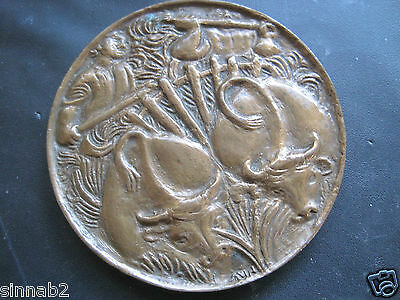 VINTAGE or ANTIQUE CHINESE or ASIAN DOUBLE OXEN & FIELD TOOLS BRONZE MEDALLION