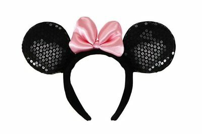 Walt Disney Minnie Mouse Deluxe Ears, Headband & Pink Bow Costume Accessory, NEW
