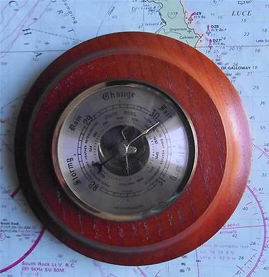 Vintage Weathermaster Precision  Aneroid Brass and Wood Brass Barometer