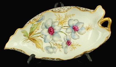 Antique Limoges France Gorgeous Hand Painted Flowers Scalloped Ruffled Relish Sg
