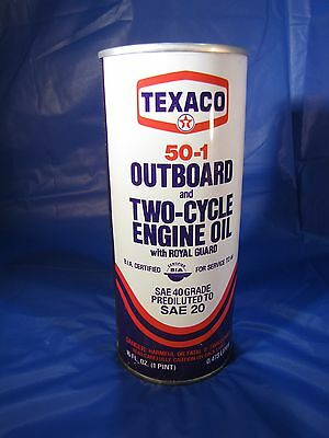 Metal Full 16 oz TEXACO Outboard Two Cycle Engine Oil Collectible Can Decor