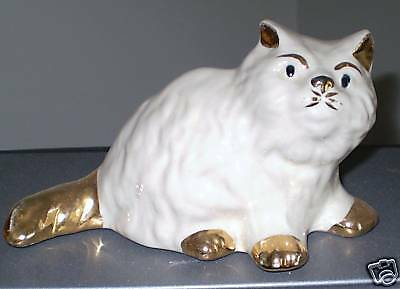 Vintage Long Hair White Cat trimmed in Gold