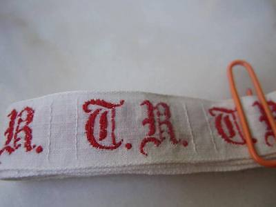 36 ANTIQUE GERMAN MONOGRAMS-T.R.-Red Embroidery FAB Old Script-Use many Ways