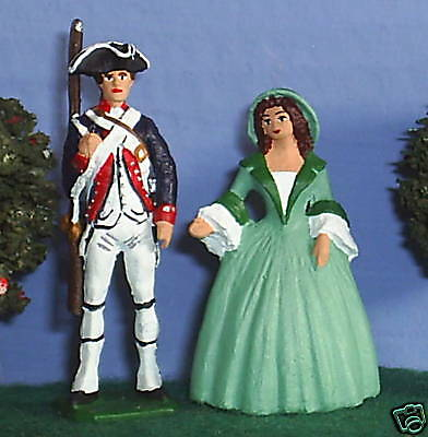 TOY SOLDIERS AMERICAN REVOLUTION US & WIFE 54MM