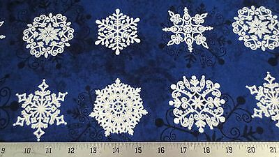 Starry Night Navy Blue/ Snow Drops Metallic Northcott Cotton Fabric 20342M-49