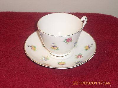 CROWN STAFFORDSHIRE PETITE FLEUR CUP AND SAUCER -GOLD TRIMMED -VGC