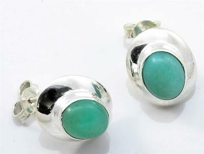 NATURAL AMAZONITE GEMSTONE STUD EARRINGS SOLID 925 SILVER JEWELRY IE14510