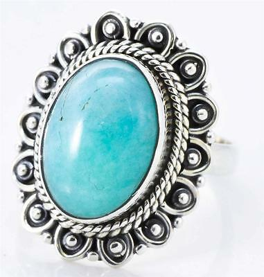 NATURAL AMAZONITE GEMSTONE RING SOLID 925 STERLING SILVER JEWELRY SIZE 7 IR16104