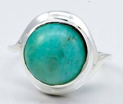 NATURAL AMAZONITE GEMSTONE RING SOLID 925 SILVER JEWELRY SIZE 6.25 IR21946