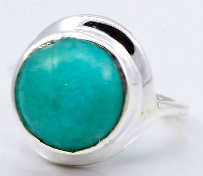 NATURAL AMAZONITE GEMSTONE RING SOLID 925 SILVER JEWELRY SIZE 5.75 IR21950