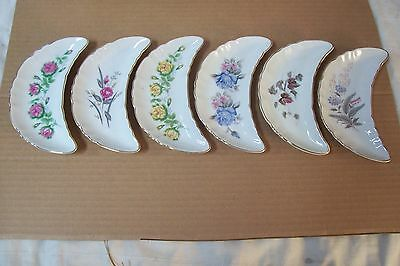 (AD 90) 6 LOT CRESCENT SHAPE BONE PLATES NASCO CHINA ALL DIFFERENT FLOWERS GOLD