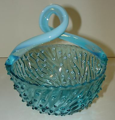 Blue Opalescent Opal Antique Old Man Winter Twisted Handle Basket by Jefferson