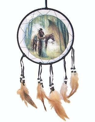 INDIANS W TEEPEE DREAM CATHER with feathers  18 IN dreamcather wall decor new