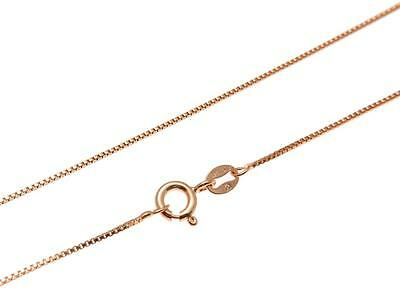 """1MM ITALIAN ROSE GOLD ON SILVER 925 BOX CHAIN NECKLACE 16"""",18"""",20"""",22"""",24"""""""