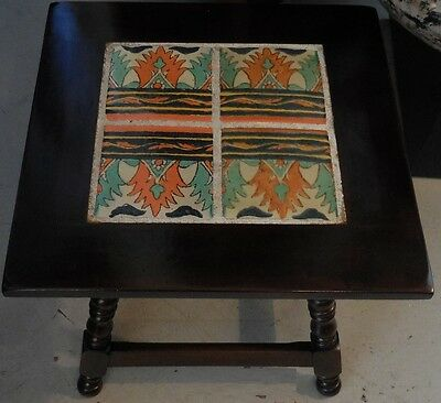 Superb Vintage California Art Pottery & Carved Wood Table