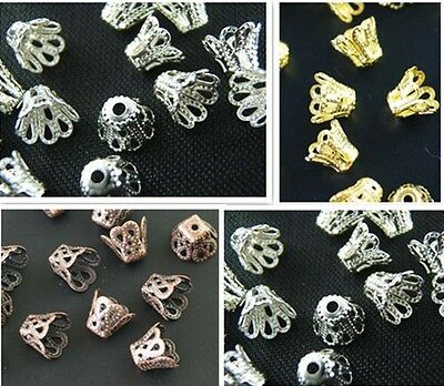 Hot Selling Fashion Silver/Gold Plated Bead Caps 3 Color 2 Size U Pick