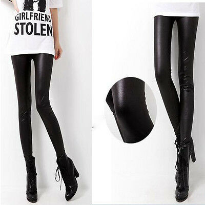 Women Sexy Shiny Faux Leather Wet Look Stretch Leggings Tight Pants SML