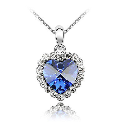 18k White Gold Plated Blue Heart of the Ocean Swarovski Crystal Necklace N39