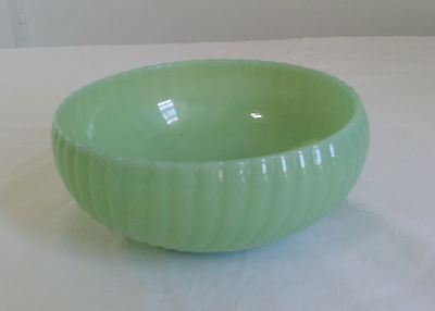 Vintage Jadeite Green Glass Swirl Bowl Serving Candy Dish Unmarked Fire King? 6""