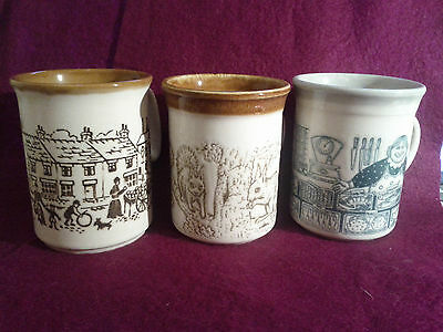 3 Country Style Pottery Mugs 2 x Biltons - Squirrels, Fishmonger, Village scene