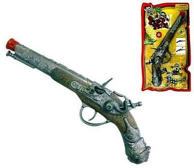 DIECAST PIRATE CAP GUN PISTOL play costume pirates item die cast metal prop toy