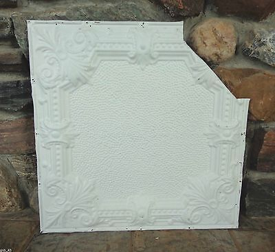 "1900's Antique Partial Tin Ceiling Tile 24"" x 24"" Painted Antique White"