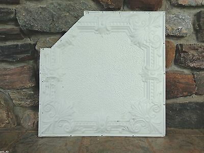 "1900's Antique Partial Tin Ceiling Tile 24"" x 24"" Painted Antique White #CT4"