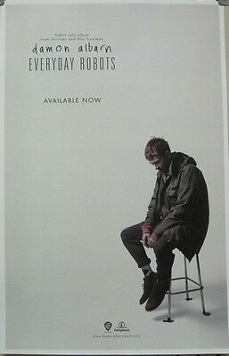 DAMON ALBARN 2014 EVERYDAY ROBOTS promotional poster ~NEW~MINT~BLUR-GORILLAZ~!
