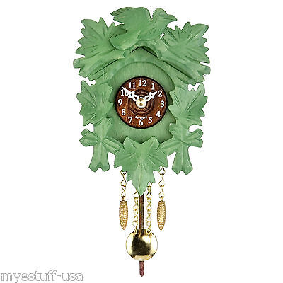 Modern Black Forest Quartz Pendulum Clock - Cuckoo Chime -  5.5 inch - Green
