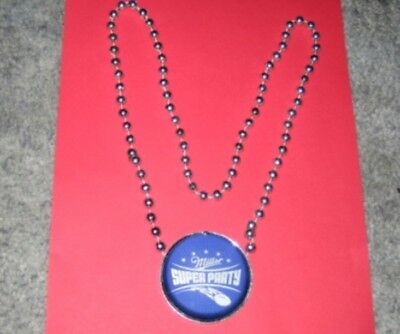 NEW LOT 4 MILLER BEER SUPER PARTY SILVER BEAD NECKLACE MGD LITE FOOTBALL BOWL NR