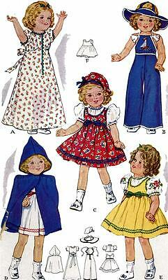 Vintage Doll Clothes PATTERN 525 for 16 in Shirley Temple Judy Garland by Ideal