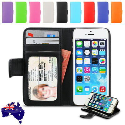 New Premium Leather Stand Card Flip Wallet Case Cover For Apple iPhone SE 5S 5
