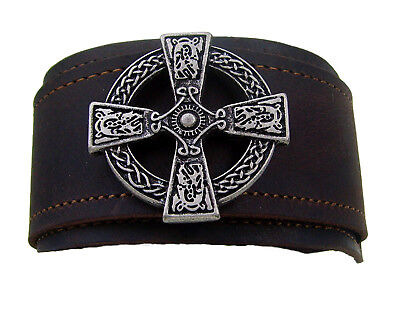 "Lederarmband Made in Germany""  XXL 4,7 cm Beschlag Farbe Altsilber Celtic Cross"