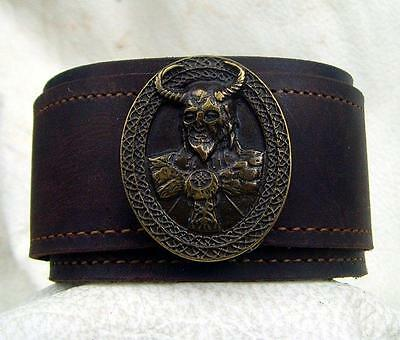 "Lederarmband Made in Germany""  XXL 4,7 cm breit Viking God Neu Handarbeit  Leder"
