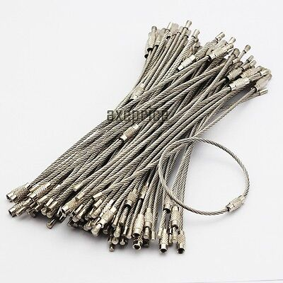 100pcs Stainless Steel Wire Keychain Cable Screw Clasp Key Ring 15.5cm/6'' 2mm