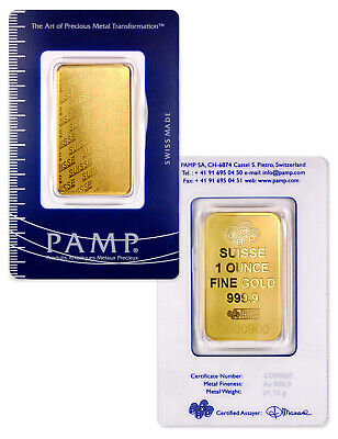PAMP Suisse 1 oz Gold Bar Plain Design Sealed w Assay Cert SKU32617