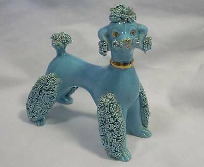 Vintage Pacific Imports Blue Spaghetti Poodle Figurine Figure Gold Collar & Eyes